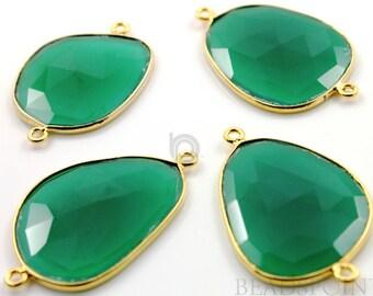 Natural Green Onyx  Fancy Shape Connectors, Bezeled Gemstones, Gold Vermeil,   41x25mm 1 Piece, (BZC7363-XLG)