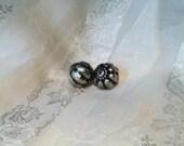 Destash Pair of Large Silver Metal Pumpkin Beads