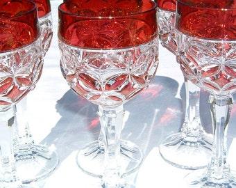 Exquisite Set of 6 Amaris Nachtmann Bleikristall Fine Bavarian Crystal Goblets in Cranberry  Red