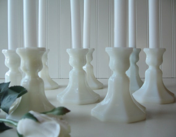 Wedding Decoration, Milk glass Candle Holders,  Tablesetting, Wedding, Milk Glass,