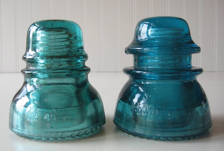 glass electrical insulators blue insulators green insulator