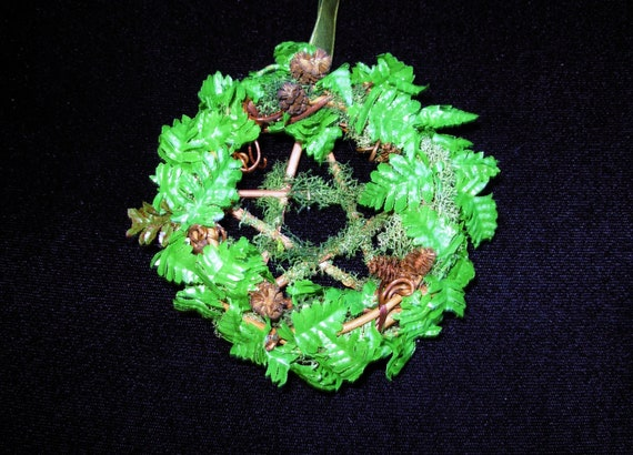 SOLD - Small Mossy Fern Pentacle Wreath