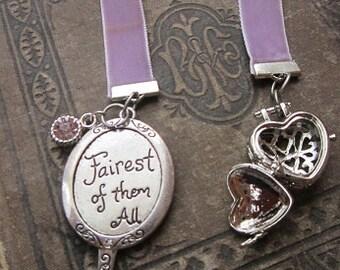 Ribbon bookmark-Fairy tale velvet ribbon bookmark-beautiul handmade bookmark- reading tools-back to school-gifts for her-princess mirror