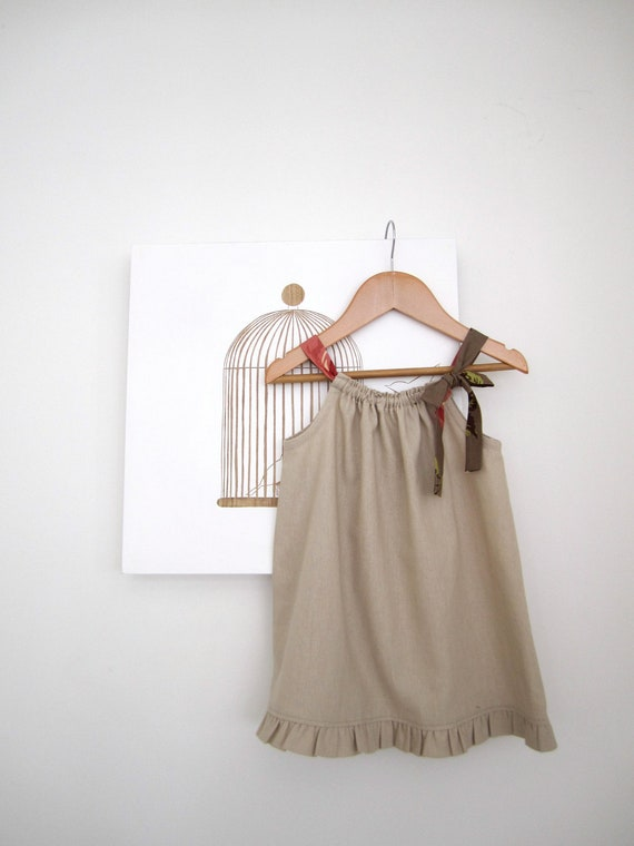 Last One 20% off..Baby Dress-Natural Latte Linen with ruffled edge and chocolate ties-toddler girls- Children Clothing by Chasing Mini