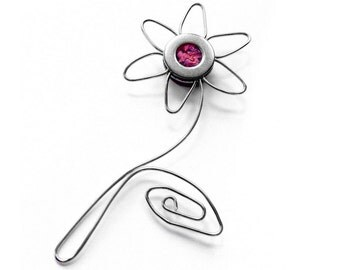 Metal Flower Magnet, Gift for Mom, Silver Wire Decor, Modern Flower, Red Accessories
