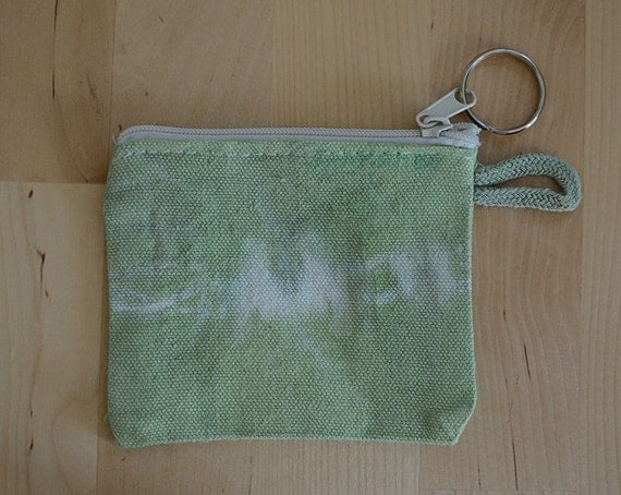 Zipperpouch, tie dye, light green, white, for keys, coin and other small things