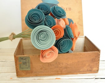 30 Orange and Teal Paper Flowers on Stems- Fall Bouquet of Paper Flowers-  Orange and Teal Wedding Decor