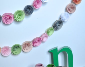 Pink - peach-green white gray Paper Flower Garland- Party Decorations 8 feet