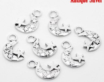 5 pieces Silver Tone Star Moon Charms