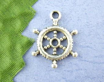 10 pieces Antique Silver Ship Wheel Charms