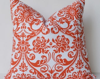 Decorative Pillow 18 square orange wallpaper print both sodespillow cover  Accent Pillow same fabric both sides Throw Pillow cover