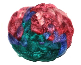 Cashmere and Mulberry Silk 50/50 Blend Extra Soft 15.5 mic. Cashmere Silk Top Hand Dyed Spinning Felting Fiber 49 gm