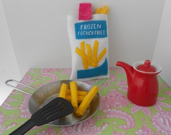 frozen french fries bag with 12 fries and the bag with a clip to open and close the bag