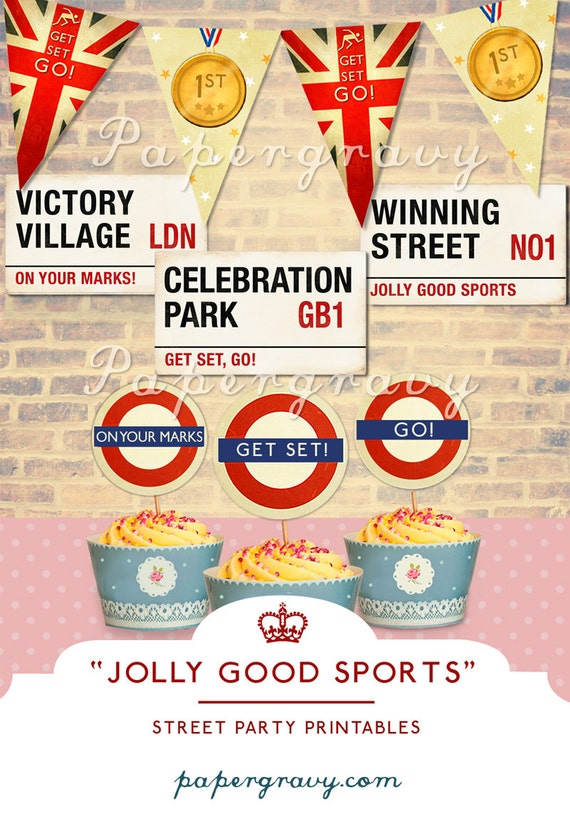 PRINTABLE Street Party SET British Cupcake Toppers Signs Bunting (digital printable files)
