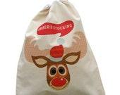Personalised Christmas stocking, reindeer xmas sack, cotton drawstring sack