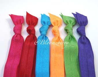 New 6 pcs Elastic Hair Tie - Cheer Set - Hot Pink, Red, Turquoise, Neon Orange, Mint, Dark Lavender- Toddler to Adult