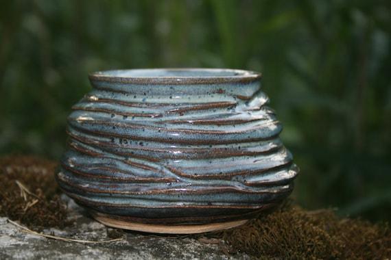 SALE: Stoneware Ceramic Pottery Small Textured Bowl or Salt Cellar