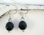 Simple black glass and smoky crystal earrings by Cerise Jewelry