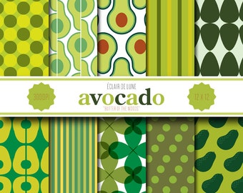 Avocado Digital Scrapbook Paper Green Dots Stripes