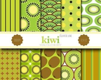 Kiwi Digital Scrapbook Paper Green Brown