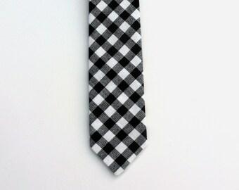 Boys Skinny Tie- Black and White Gingham- Sizes newborn-7 years