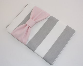 iPad Mini, Kindle, Nook, eReader Case - Gray and White Stripe with Pink Bow - Padded