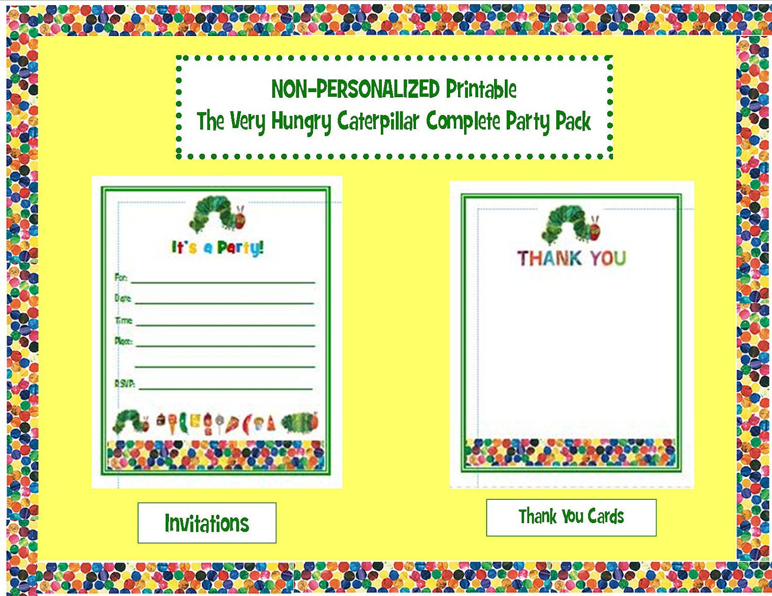 Dorable Very Hungry Caterpillar Birthday Invitations Picture ...