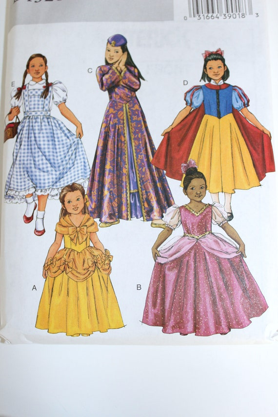 Girls Halloween Costume Pattern Butterick new uncut Dorothy Snow White Cinderella Sleeping Beauty Belle Disney Princess sizes 2 3 4 5