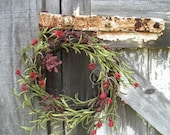Rustic Grapevine Wreath with Red Bellflowers Red Berries and Magenta Berry Spikes - Country Wreath - Red wreath - Wreath for Door
