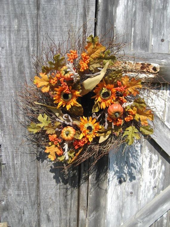 Rustic Sweet Huck Wreath with Sunflowers and Pumpkins - Harvest wreath - Fall wreath  - Autumn wreath - Primitive wreath - Country wreath