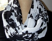 Black on White Floral Chiffon Infinity Scarf