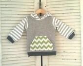 Boy Hoodie w/ chevron. 3t Boys Sweatshirt. Mix of Stripes, greens and grays. Ready to Ship