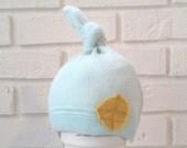 Light Blue Sweater Newborn Boys Hat. 0-3M. Upcycled Baby knot HAT. Lilhoot