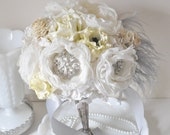 Yellow and gray, grey wedding Bridal accessories, bouquets of paper flowers, fabric flowers in shades of pale yellow, grey and cream