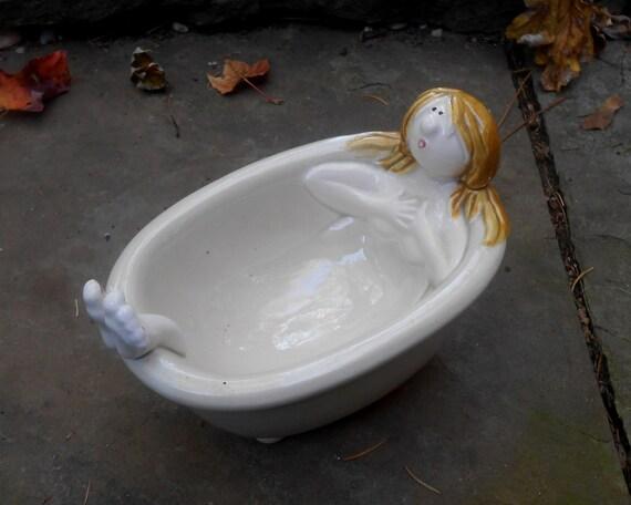 Fitz And Floyd Girl In Bath Tub Soap Dish Comical