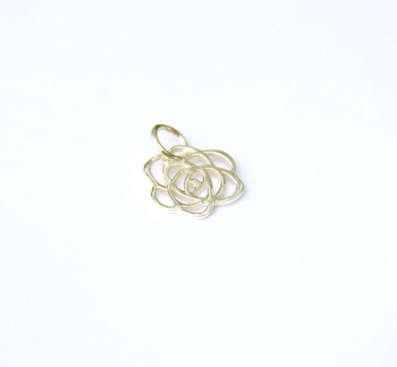 Sterling Silver Art Deco Rose Charm, Sterling Silver Rose Charm, Silver Rose Charm, Sterling Silver Rose Charm, Flower Charm