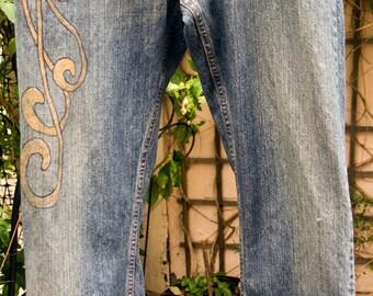 Doodled Denim - Art Nouveau Images Drawn on Jeans