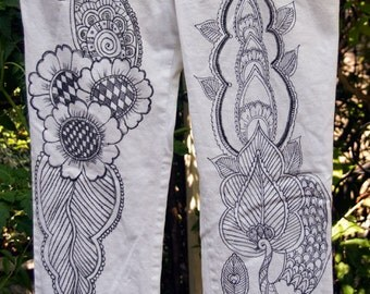 Doodled Denim - Mehndi Images Drawn on White Jeans