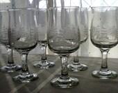 Vintage Arby's Winter Scene Wine Glasses Goblets Christmas