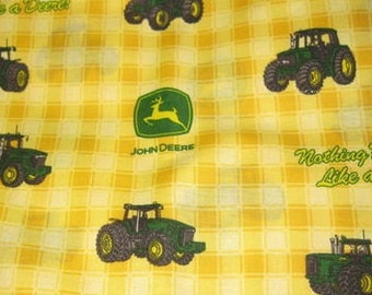 2 Yards of yellow tractors all over fabric Nothing runs like a deere