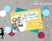 Retro Housewife Thank You Card - GOSSIP GIRLS Printable