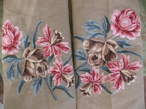 Do not buy Reserved for Ebru*  Floral Needlepoint Canvases Two Large Preworked