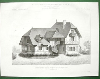 ARCHITECTURE France Wood Timber House in Cabourg Department Calvados - 1881 Antique Print