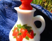 Avon Milk Glass Deacnter with Strawberries RESERVED for Mary