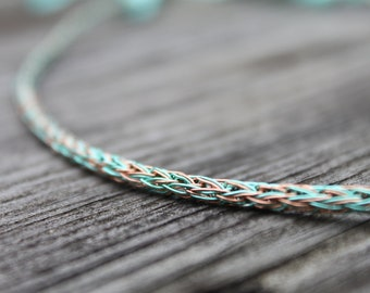 Custom Two Strand Viking Knit and Ribbon Necklace: You Design