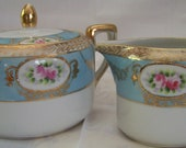 Vintage Rare Hand Painted Nippon Sugar and Creamer Set, Morimura Bros., pre-dates Noritake china, real 24K gold trim