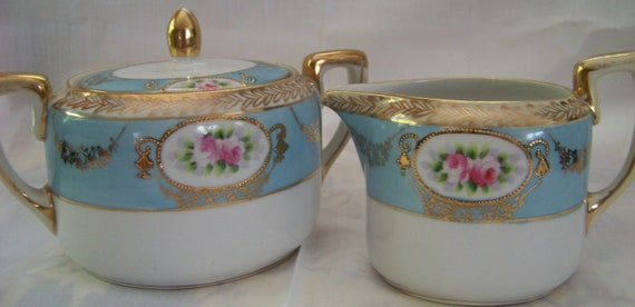 Vintage Rare Hand Painted Nippon Sugar and Creamer Set, Morimura Bros., pre-dates Noritake china, real 24K gold trim