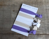 Set of 5 Purple, Beige, & White FOE (Fold Over Elastic) Hair Ties