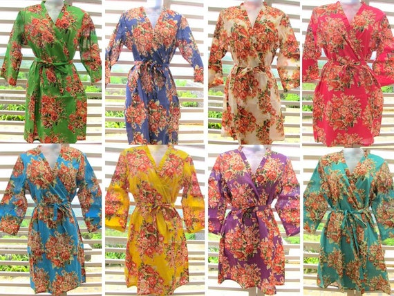Bridesmaid kimono robes set of 4 - getting ready robes, wedding photo prop, spa wrap, bridesmaid gifts, bridal shower favor