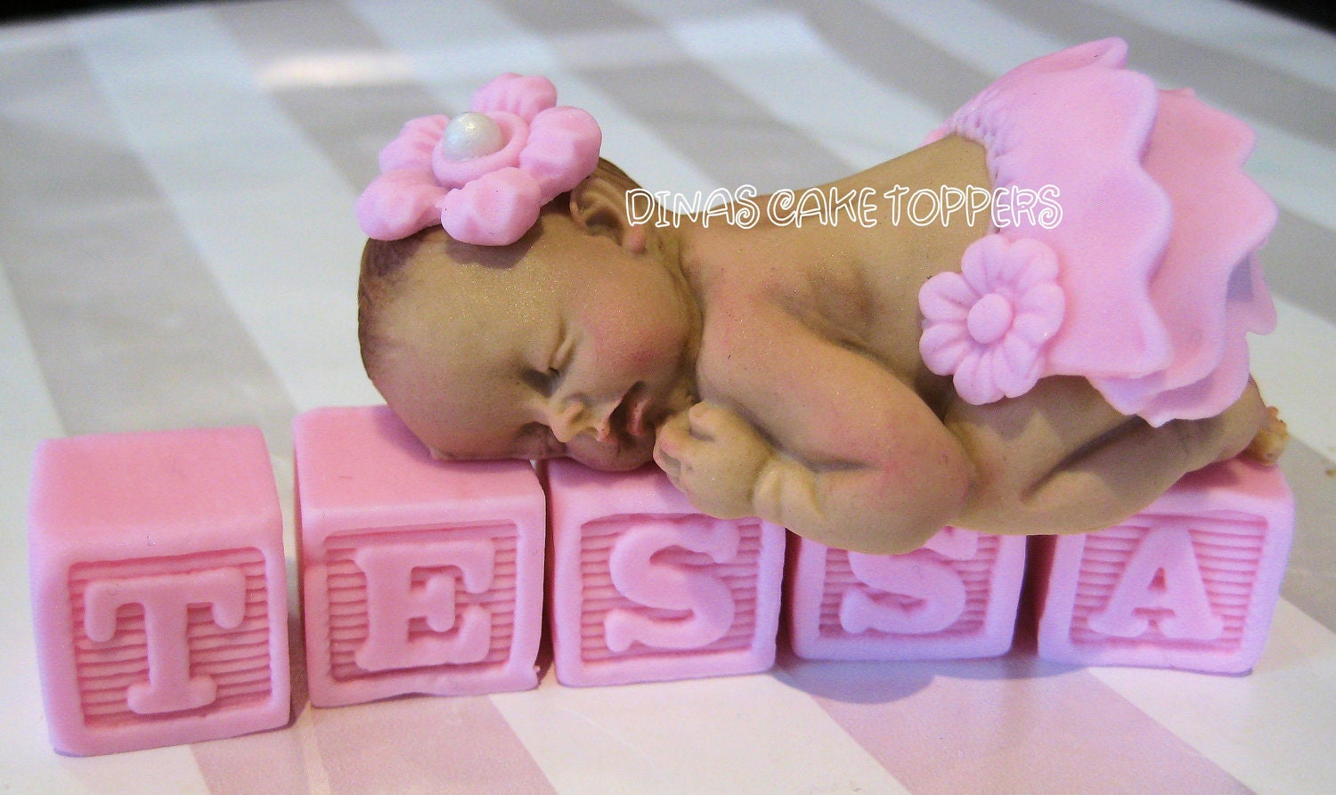 tutu baby shower cake topper favors headband by dinascaketoppers